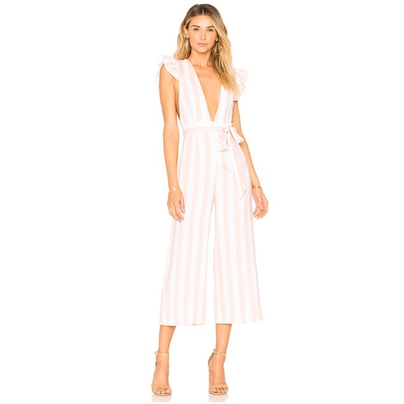 Privacy Please Pants - Privacy Please Wisteria Pearl Pink Stripe Jumpsuit